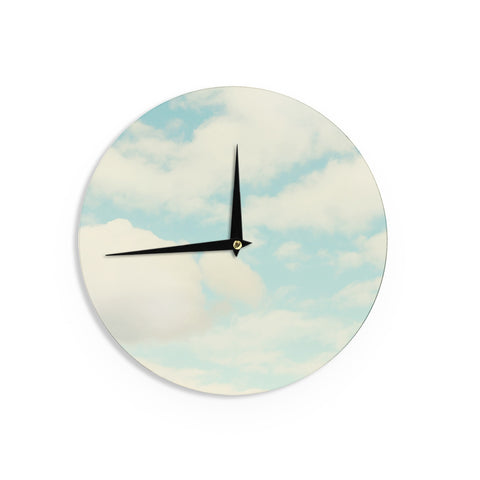 "Sylvia Cook ""Clouds"" Blue White Wall Clock - KESS InHouse"