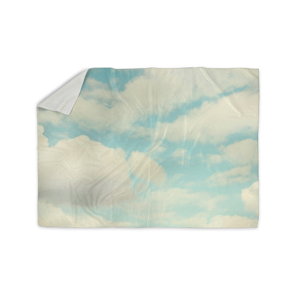 "Sylvia Cook ""Clouds"" Blue White Sherpa Blanket - KESS InHouse  - 1"