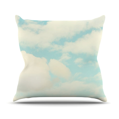 "Sylvia Cook ""Clouds"" Blue White Outdoor Throw Pillow - KESS InHouse  - 1"