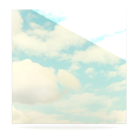 "Sylvia Cook ""Clouds"" Blue White Luxe Square Panel - KESS InHouse  - 1"