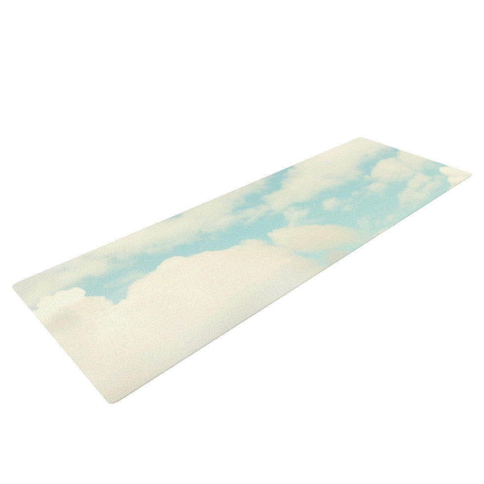 "Sylvia Cook ""Clouds"" Blue White Yoga Mat - KESS InHouse  - 1"