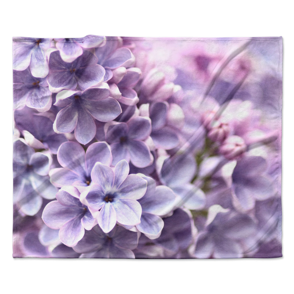 "Sylvia Cook ""Lilac"" Purple Flowers Fleece Throw Blanket"