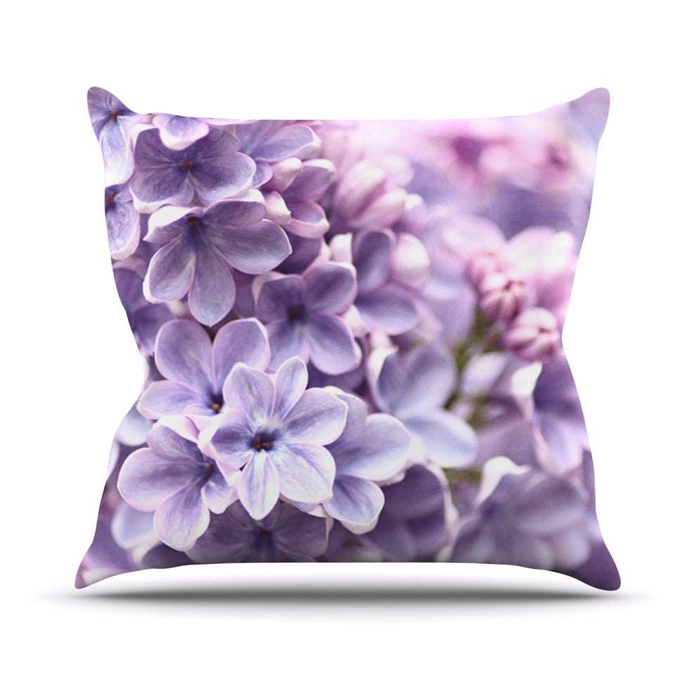 "Sylvia Cook ""Lilac"" Purple Flowers Outdoor Throw Pillow - KESS InHouse  - 1"