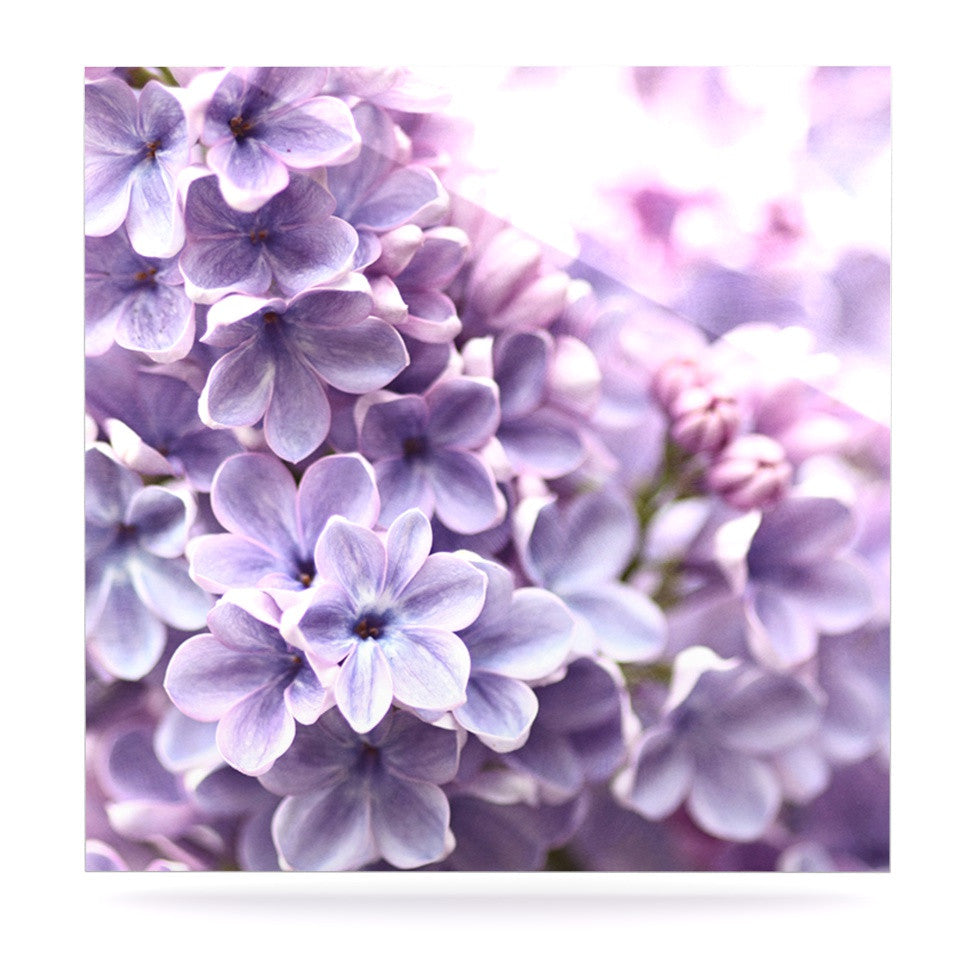 "Sylvia Cook ""Lilac"" Purple Flowers Luxe Square Panel - KESS InHouse  - 1"
