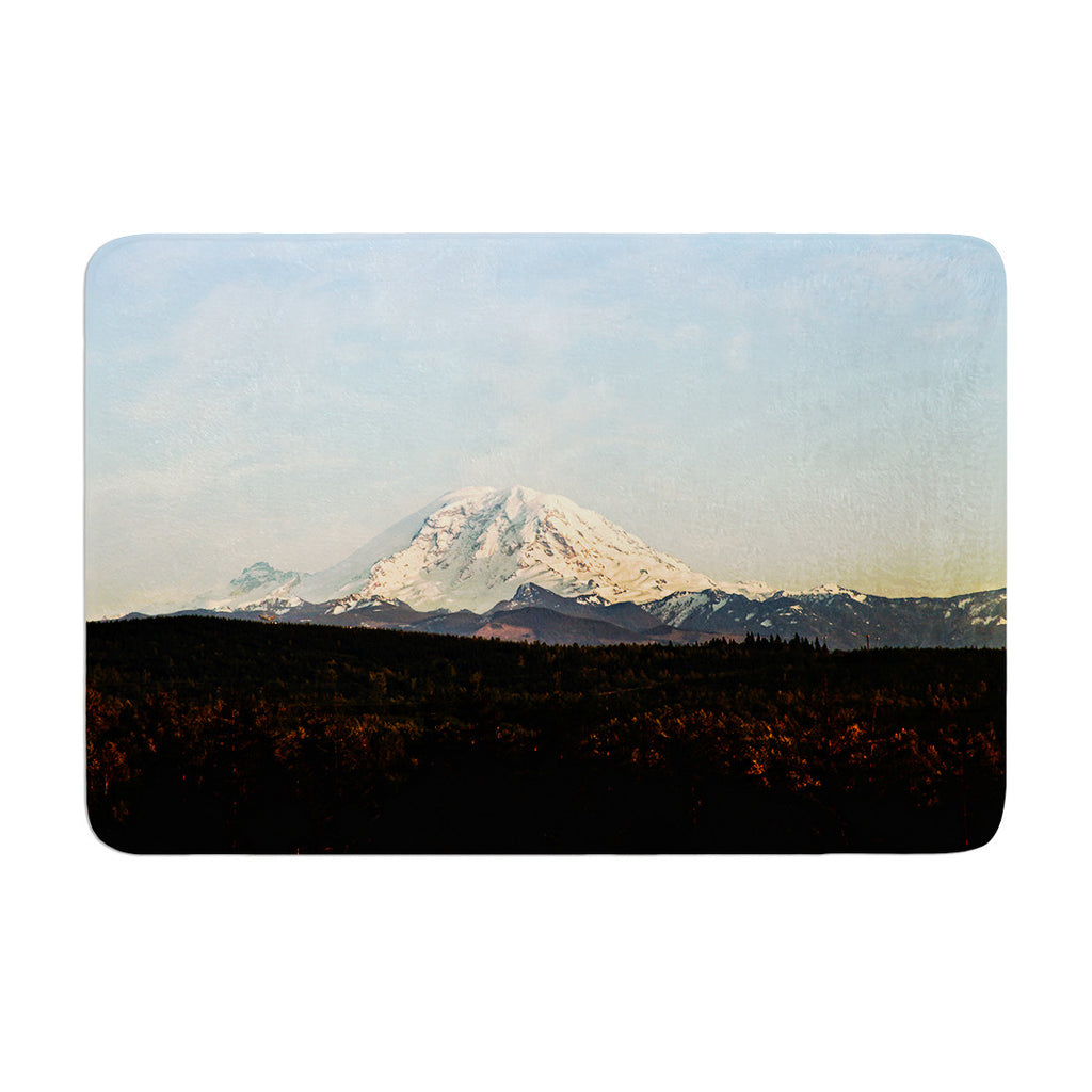 "Sylvia Cook ""Mt. Rainier"" Mountain Photo Memory Foam Bath Mat - KESS InHouse"