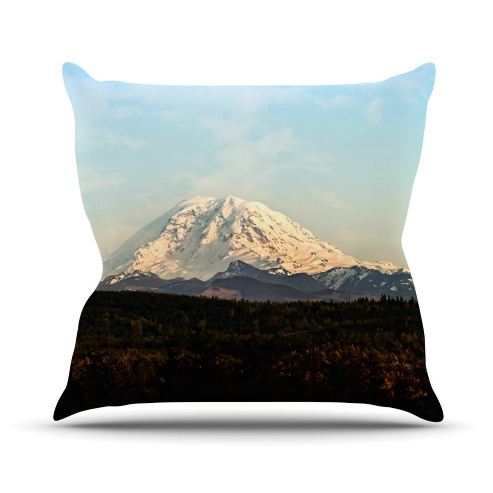 "Sylvia Cook ""Mt. Rainier"" Mountain Photo Outdoor Throw Pillow - KESS InHouse  - 1"