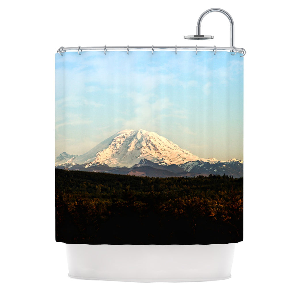 "Sylvia Cook ""Mt. Rainier"" Mountain Photo Shower Curtain - KESS InHouse"