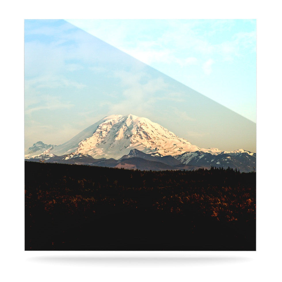 "Sylvia Cook ""Mt. Rainier"" Mountain Photo Luxe Square Panel - KESS InHouse  - 1"