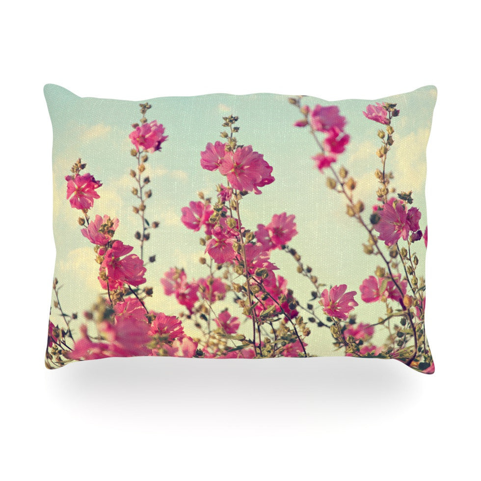 "Sylvia Cook ""Pink Lavatera"" Flowers Sky Oblong Pillow - KESS InHouse"