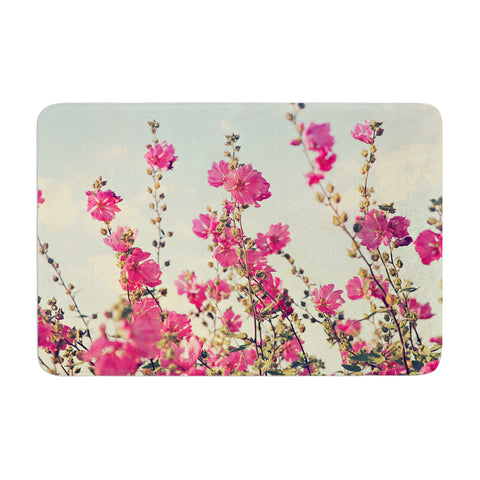 "Sylvia Cook ""Pink Lavatera"" Flowers Sky Memory Foam Bath Mat - Outlet Item"