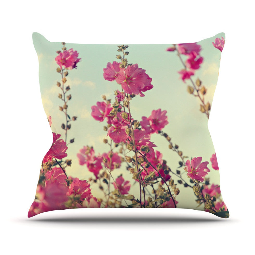 "Sylvia Cook ""Pink Lavatera"" Flowers Sky Throw Pillow - KESS InHouse  - 1"