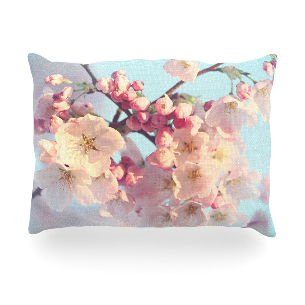 "Sylvia Cook ""Waiting for Spring"" Pink Blue Oblong Pillow - KESS InHouse"