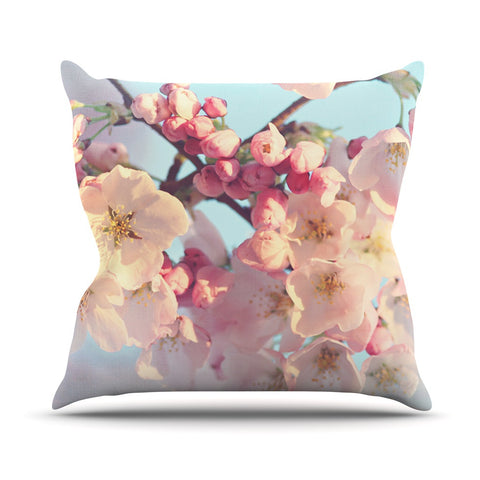 "Sylvia Cook ""Waiting for Spring"" Pink Blue Outdoor Throw Pillow - KESS InHouse  - 1"
