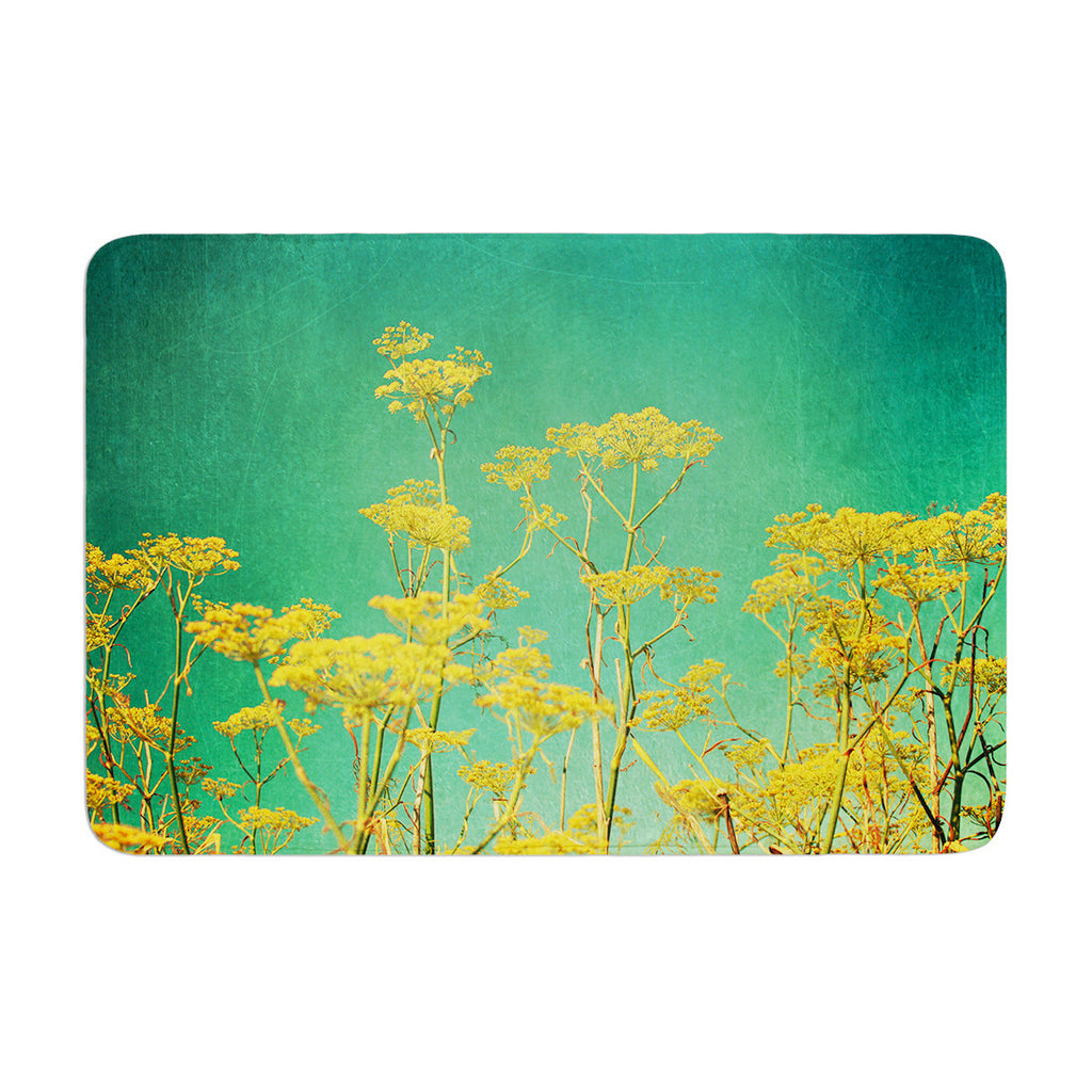 "Sylvia Cook ""Yellow Flowers"" Teal Sky Memory Foam Bath Mat - KESS InHouse"