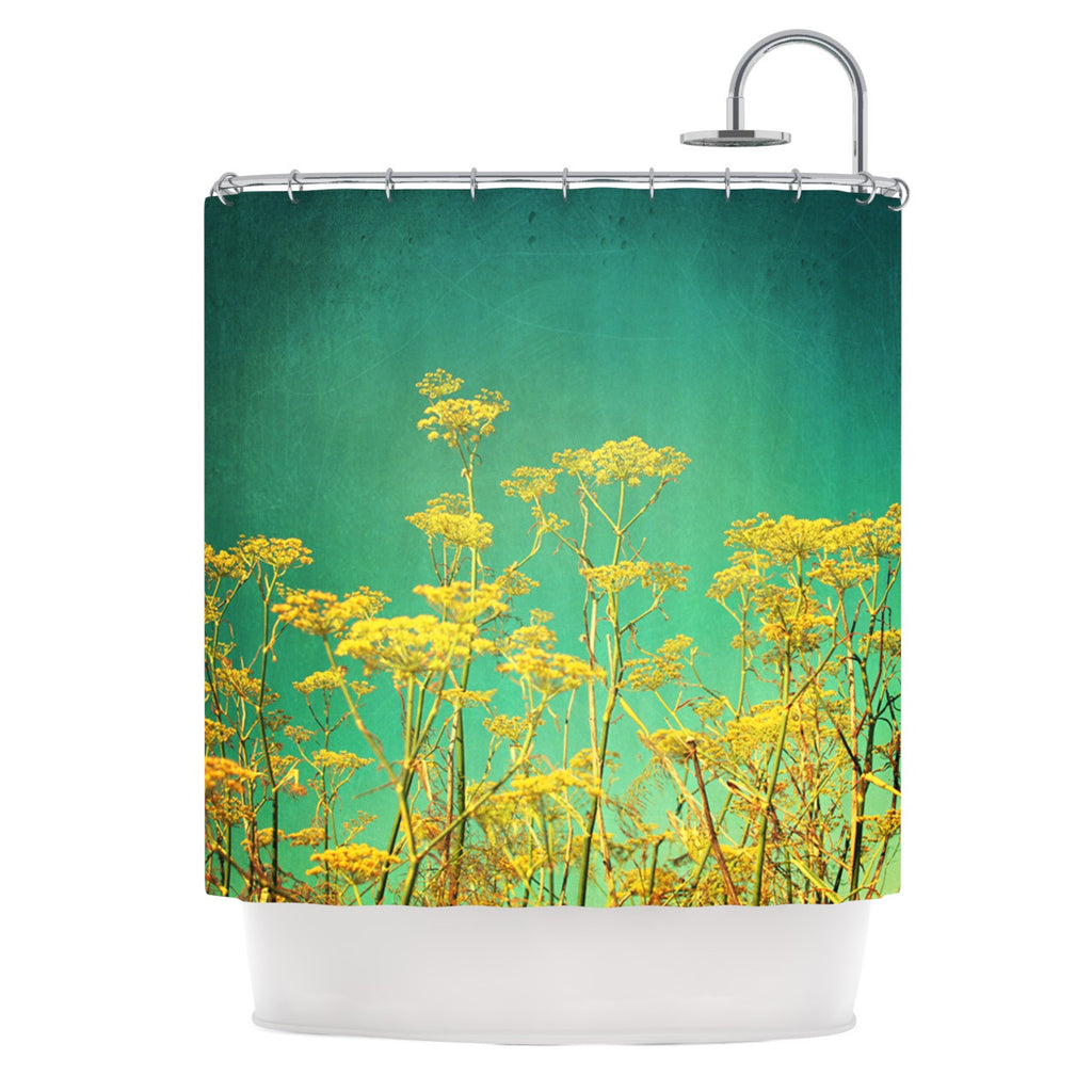 "Sylvia Cook ""Yellow Flowers"" Teal Sky Shower Curtain - KESS InHouse"