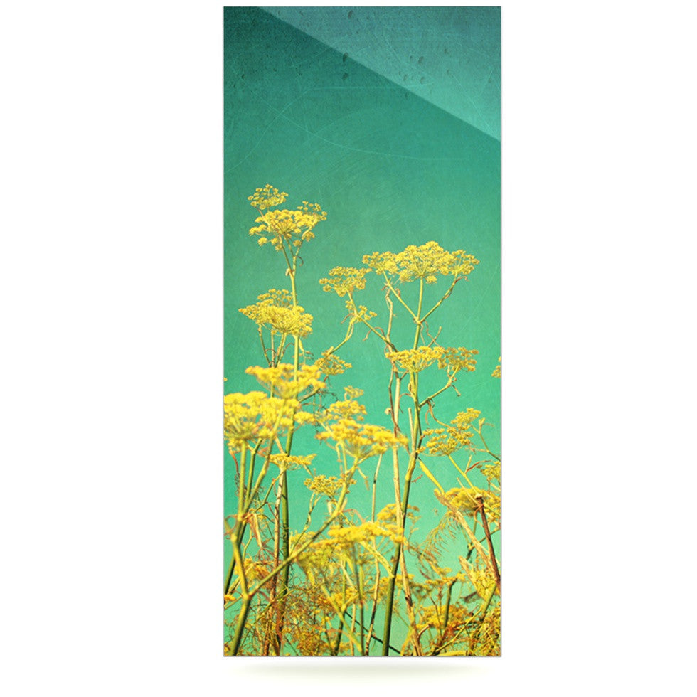 "Sylvia Cook ""Yellow Flowers"" Teal Sky Luxe Rectangle Panel - KESS InHouse  - 1"