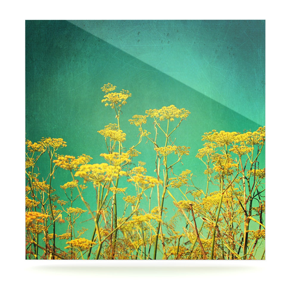 "Sylvia Cook ""Yellow Flowers"" Teal Sky Luxe Square Panel - KESS InHouse  - 1"