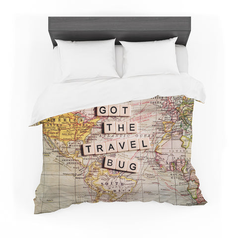"Sylvia Cook ""I've Got the Travel Bug"" Map Featherweight Duvet Cover - Outlet Item"