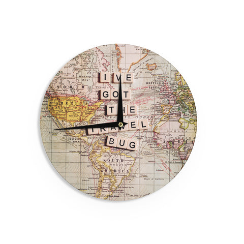 "Sylvia Cook ""Travel Bug"" Map Wall Clock - KESS InHouse"