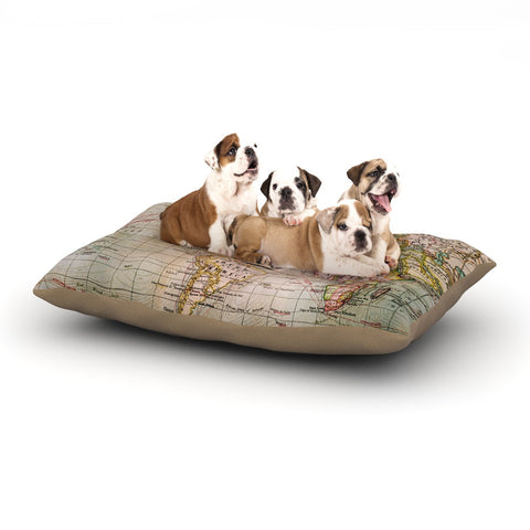 "Sylvia Cook ""Travel Bug"" Map Dog Bed - KESS InHouse"