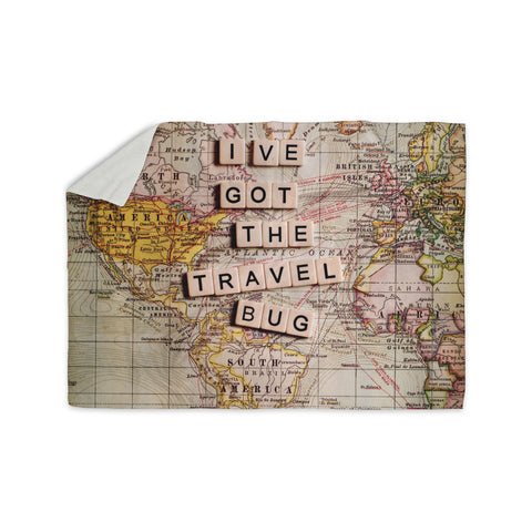 "Sylvia Cook ""Travel Bug"" Map Sherpa Blanket - KESS InHouse  - 1"