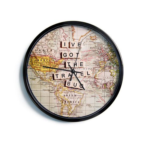 "Sylvia Cook ""Travel Bug"" Map Modern Wall Clock"