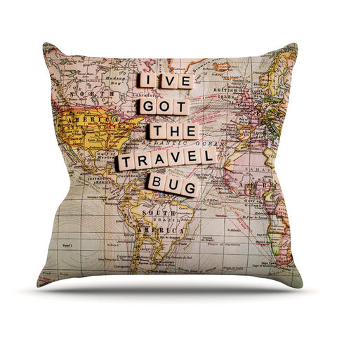 "Sylvia Cook ""Travel Bug"" Map Outdoor Throw Pillow - KESS InHouse  - 1"
