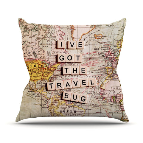 "Sylvia Cook ""Travel Bug"" Map Throw Pillow - KESS InHouse  - 1"