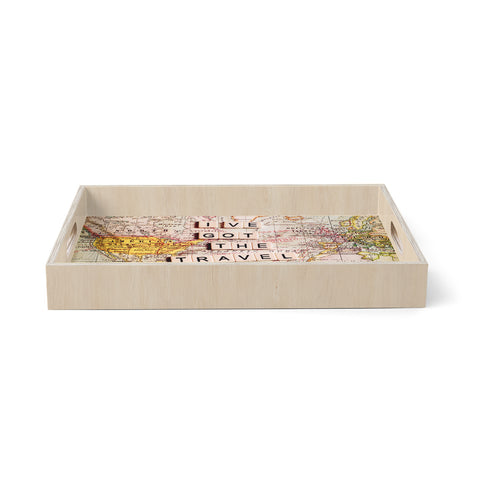"Sylvia Cook ""I've Got the Travel Bug"" Map Birchwood Tray"
