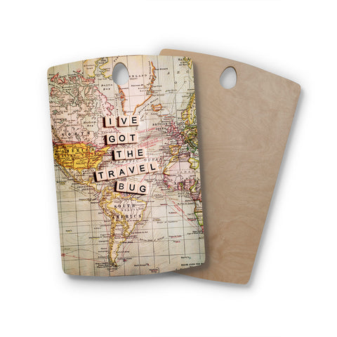 "Sylvia Cook ""Travel Bug"" Map Rectangle Wooden Cutting Board"
