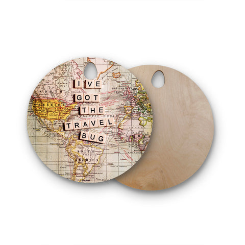"Sylvia Cook ""Travel Bug"" Map Round Wooden Cutting Board"