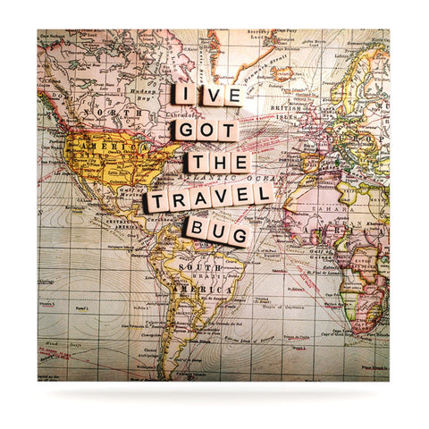 "Sylvia Cook ""Travel Bug"" Map Luxe Square Panel - KESS InHouse  - 1"