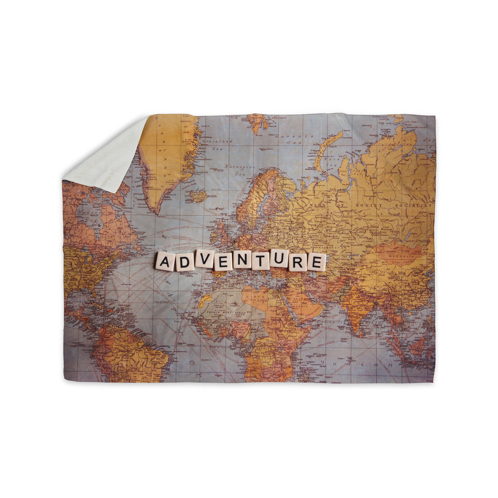 "Sylvia Cook ""Adventure Map"" World Sherpa Blanket - KESS InHouse  - 1"