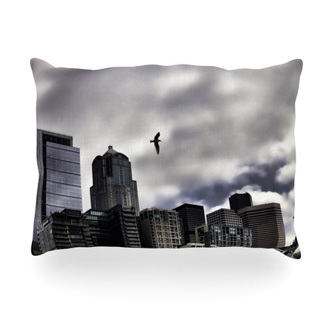 "Sylvia Cook ""Seattle Skyline"" City Clouds Oblong Pillow - KESS InHouse"
