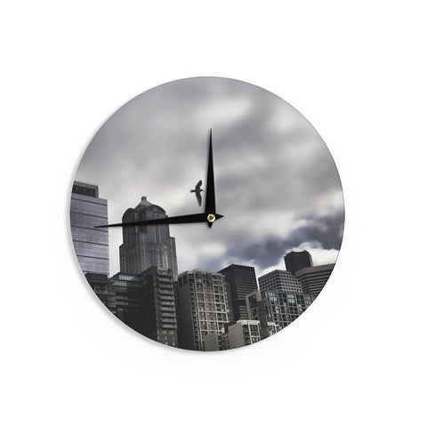 "Sylvia Cook ""Seattle Skyline"" City Clouds Wall Clock - KESS InHouse"