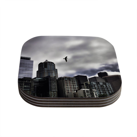 "Sylvia Cook ""Seattle Skyline"" City Clouds Coasters (Set of 4)"