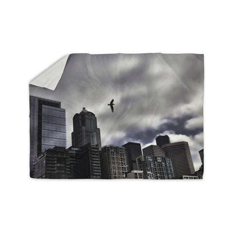 "Sylvia Cook ""Seattle Skyline"" City Clouds Sherpa Blanket - KESS InHouse  - 1"