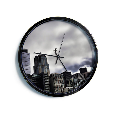 "Sylvia Cook ""Seattle Skyline"" City Clouds Modern Wall Clock"