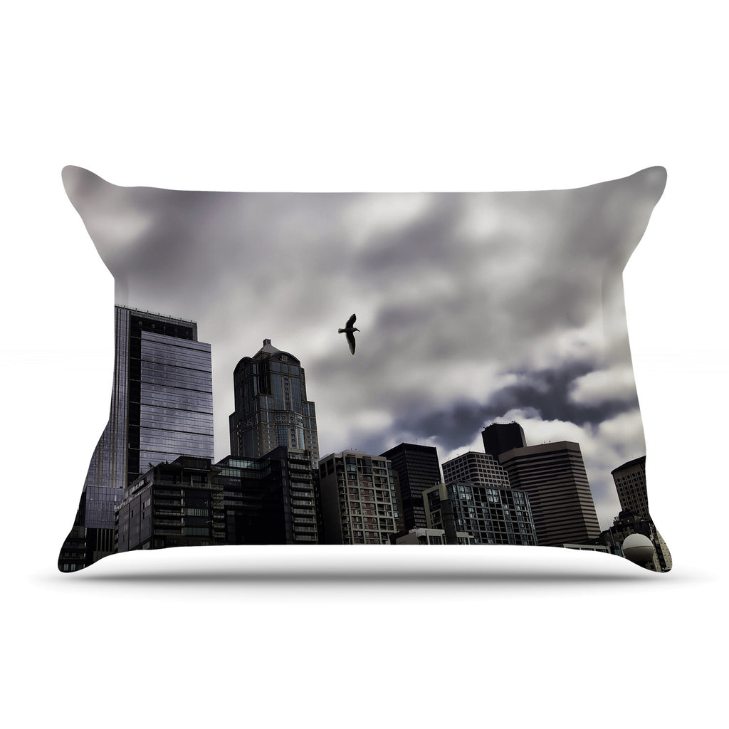 "Sylvia Cook ""Seattle Skyline"" City Clouds Pillow Sham"