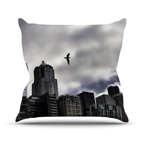 "Sylvia Cook ""Seattle Skyline"" City Clouds Outdoor Throw Pillow - KESS InHouse  - 1"