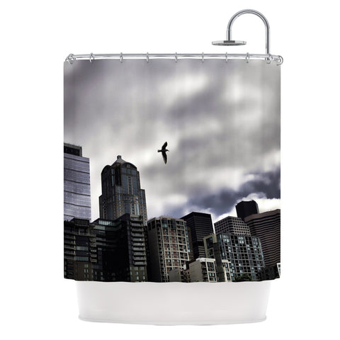 "Sylvia Cook ""Seattle Skyline"" City Clouds Shower Curtain - KESS InHouse"