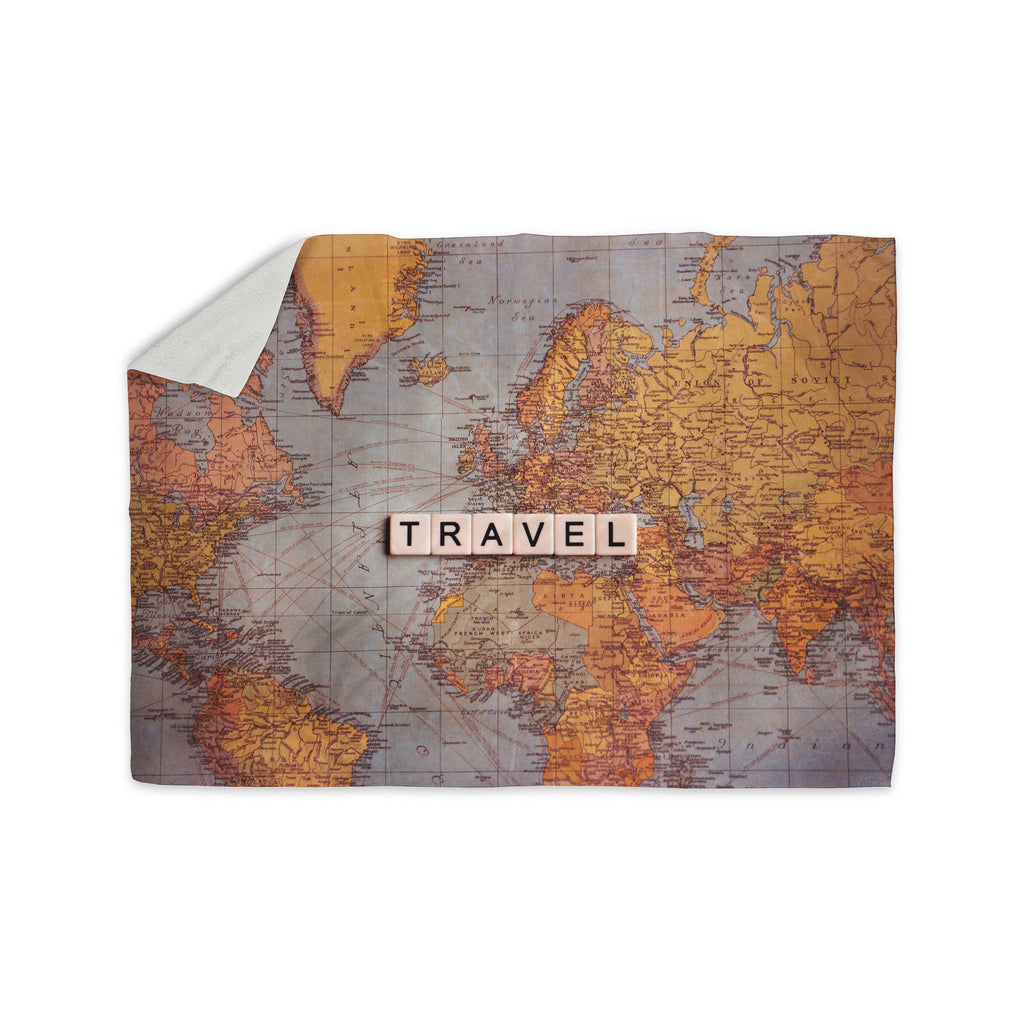 "Sylvia Cook ""Travel Map"" World Sherpa Blanket - KESS InHouse  - 1"