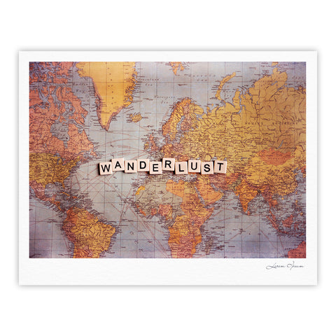 "Sylvia Cook ""Wanderlust Map"" World Fine Art Gallery Print - KESS InHouse"