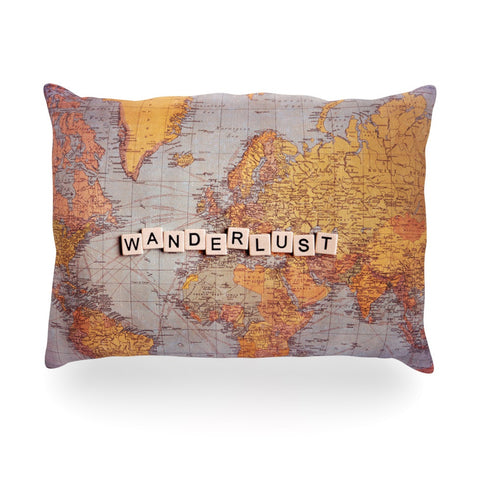 "Sylvia Cook ""Wanderlust Map"" World Oblong Pillow - KESS InHouse"
