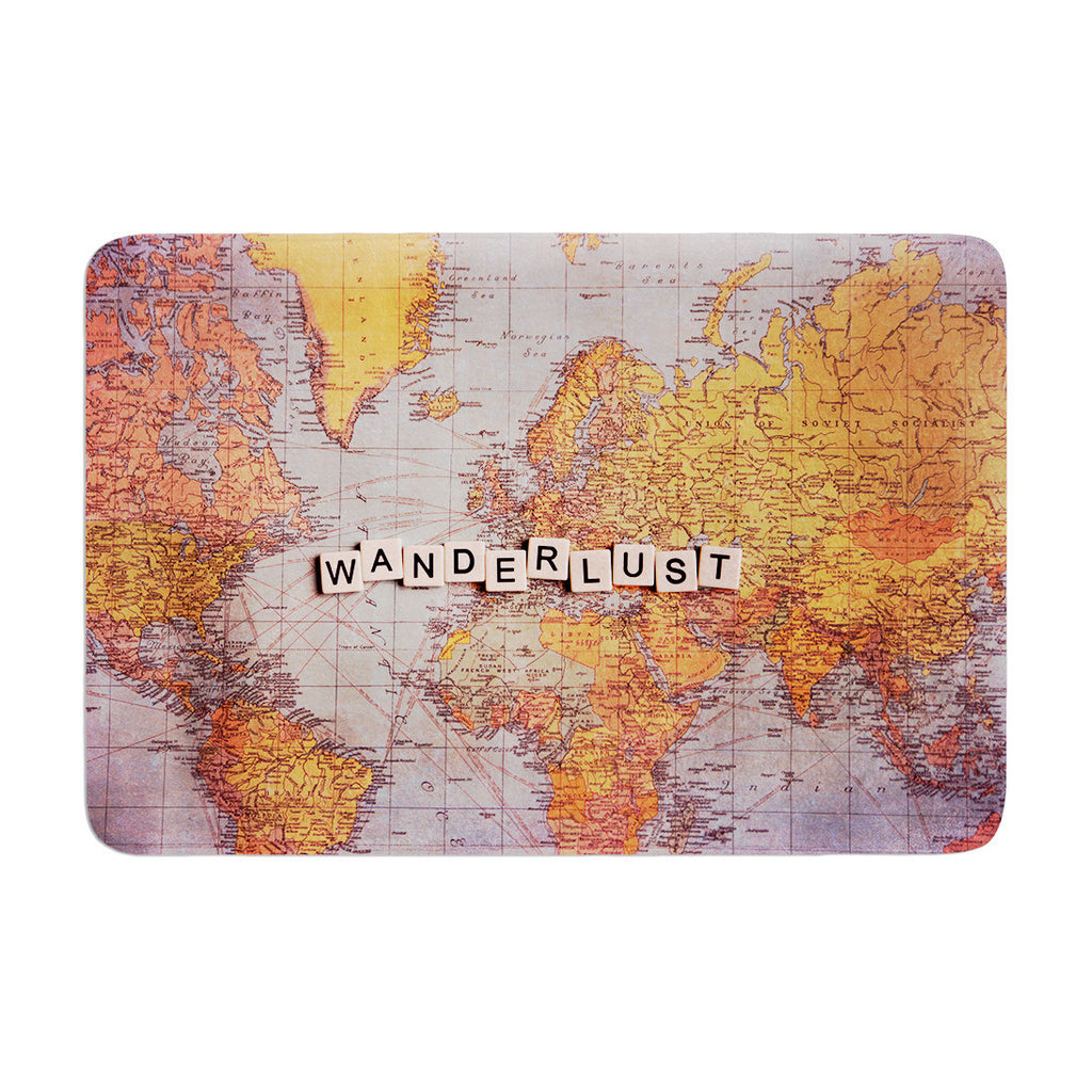 "Sylvia Cook ""Wanderlust Map"" World Memory Foam Bath Mat - KESS InHouse"