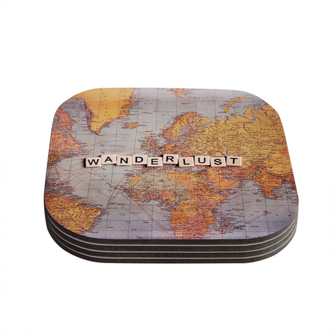 "Sylvia Cook ""Wanderlust Map"" World Coasters (Set of 4)"