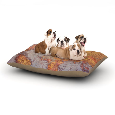 "Sylvia Cook ""Wanderlust Map"" World Dog Bed - KESS InHouse  - 1"
