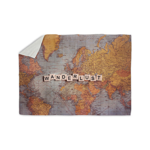 "Sylvia Cook ""Wanderlust Map"" World Sherpa Blanket - KESS InHouse  - 1"