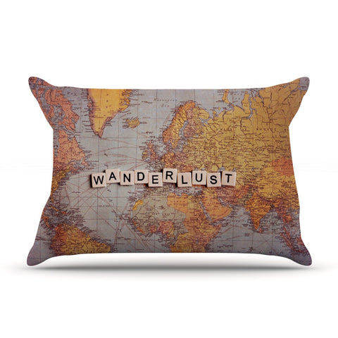 "Sylvia Cook ""Wanderlust Map"" World Pillow Sham - KESS InHouse"