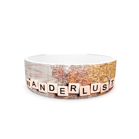 "Sylvia Cook ""Wanderlust Map"" World Pet Bowl - KESS InHouse"